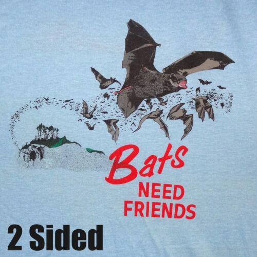 BATS NEED FRIENDS NEW 50//50 CAVING T-SHIRT TWO-SIDED SUNSET BAT FLIGHT