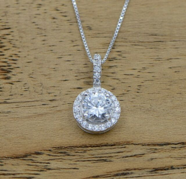 Sterling silver micro pave round cubic zirconia pendant necklace sterling silver micro pave round cubic zirconia pendant necklace chain gift i25 aloadofball Images