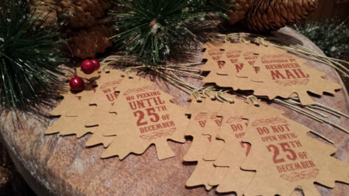 12 x Brown Red Vintage Christmas Tree Shape Gift Tags Brown Paper Do not open