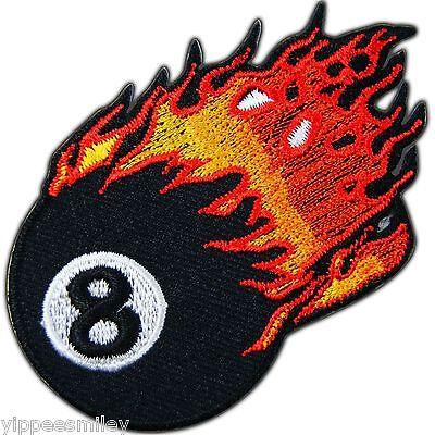 Eight 8 Flaming Eye Ball Billiards Pool Snooker Tattoo Biker Iron On Patch #0392
