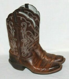 15451c407a0 Details about Ariat Womens Legend Square Toe Cowboy Western Brown Oiled  Rowdy Size 6C 15825
