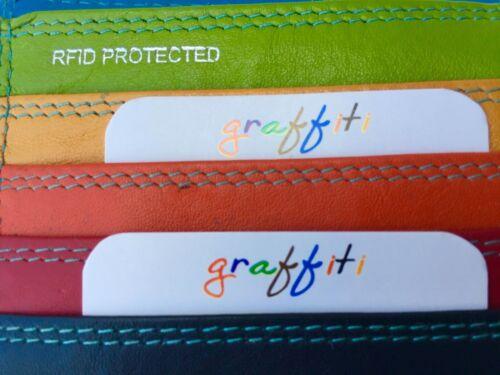 Graffiti Range Quality Leather Multi Coloured Purse48 with RFID Safe Protection
