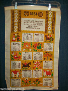 Vintage-Calendar-1984-Linen-Dutch-Amish-Rooster-B-amp-D-Quilt-Craft-Free-USA-Ship