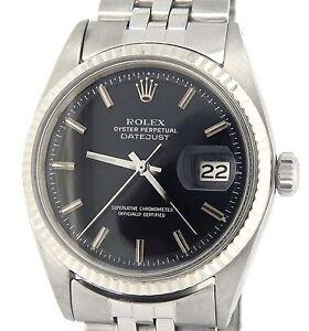 Rolex-Datejust-Mens-Stainless-Steel-amp-18K-White-Gold-Black-Watch-Jubilee-1601
