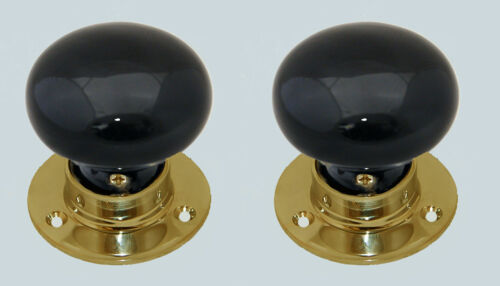 Pair 60mm Ceramic Mortice Door Knob Set Cottage Shape Mounted Plain Brass Base