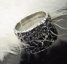 Antique Forget Me Not Flower 0.925 STERLING SILVER Wedding Band Ring size 6
