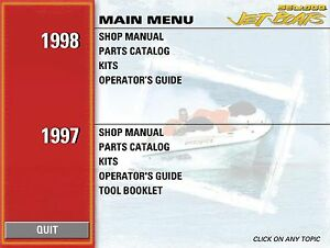 Seadoo 1996 1997 Speedster Sportster Explorer Challenger 1800 Shop Manual on CD