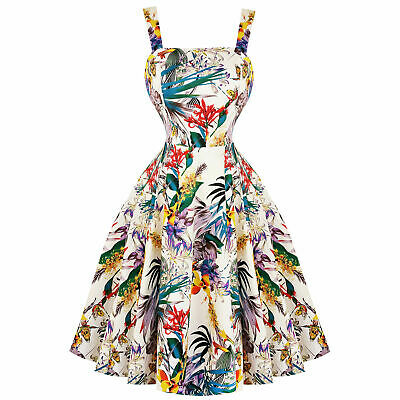 Frank Hearts & Roses London Tropical Floral 1950s Vintage Retro Flared Summer Dress Elegant Im Stil