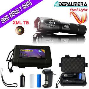 DEPALMERA® LINTERNA LED RECARGABLE TACTICA POLICIAL ZOOM LED T6 Cargador Bateria