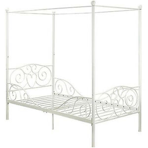 Princess Bed Frame Twin Canopy Furniture White Metal Girls Bedroom