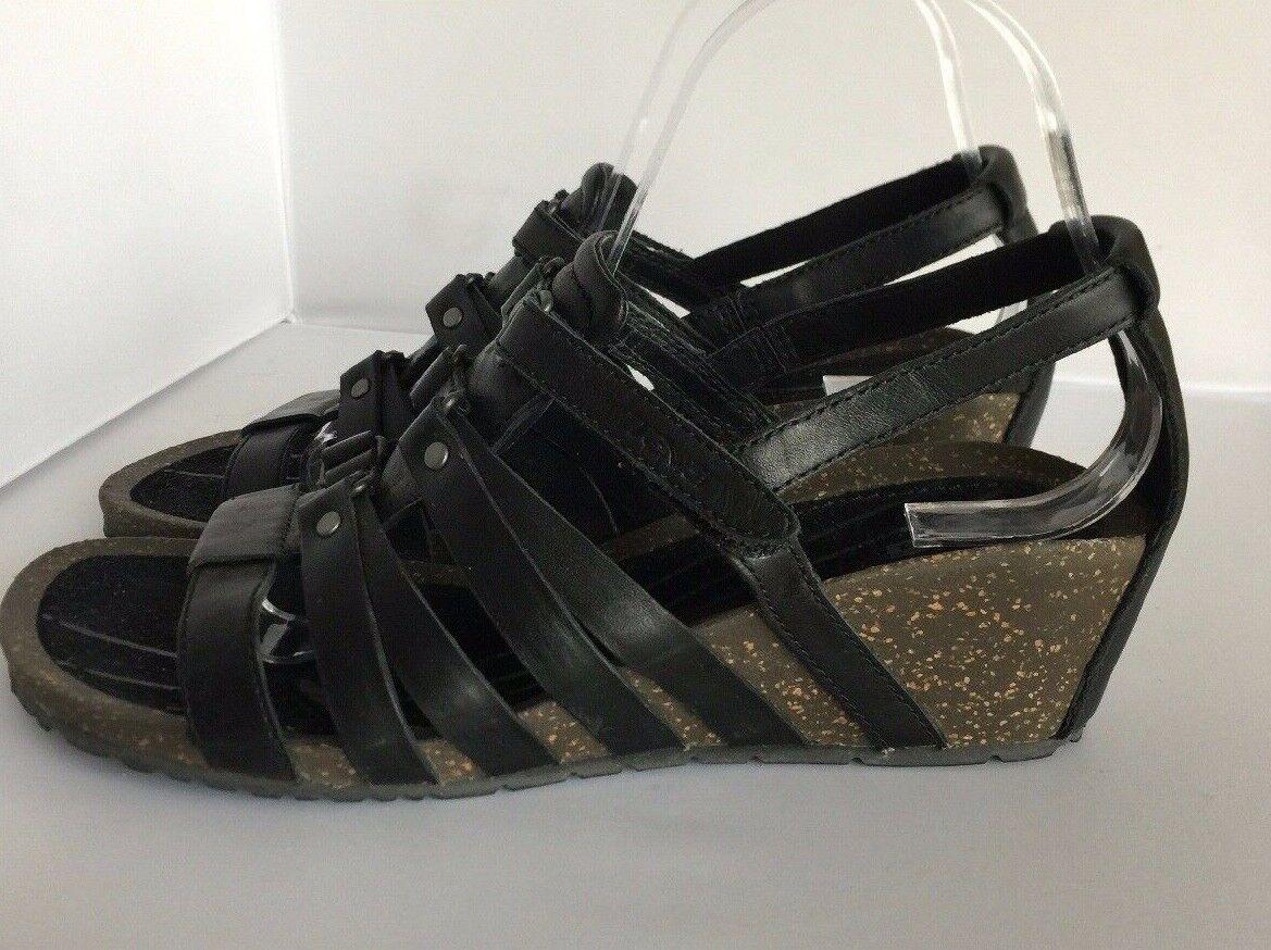 TEVA BLACK LEATHER CABRILLO GLADIATOR WEDGE SANDALS, US 9.5  EUR 40.5