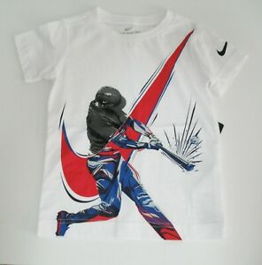 Nike-Little-Boys-Baseball-Player-Graphic-Cotton-T-Shirt-White-Sz-3T-NWT