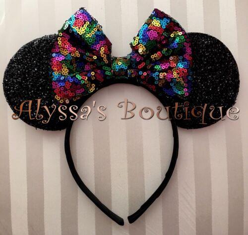NEW Minnie Mouse Ears Headband Shimmer Black Big Multi Colors Rainbow Sequin Bow