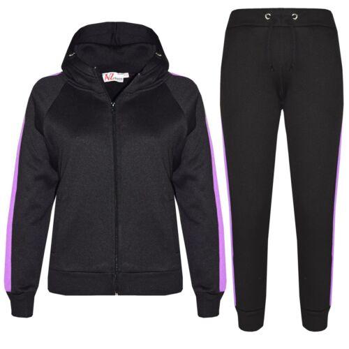 Kids Girls Boys Tracksuit Plain Fleece Hooded Hoodie Bottom Joggers Jogging Suit