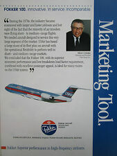 8/1990 PUB FOKKER AIRCRAFT FOKKER 100 USAIR AIRLINE EDWIN COLODNY ORIGINAL AD