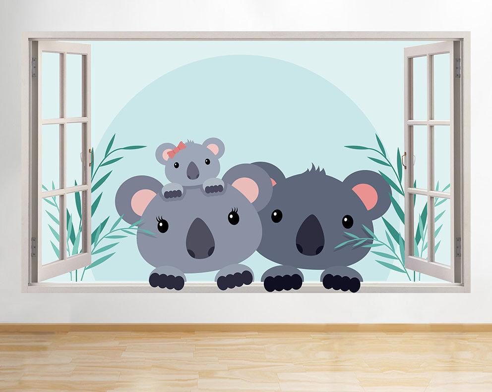 G771 Koala Bear Family Enfants Fenêtre Mig Autocollant Chambre 3D Vinyle enfants