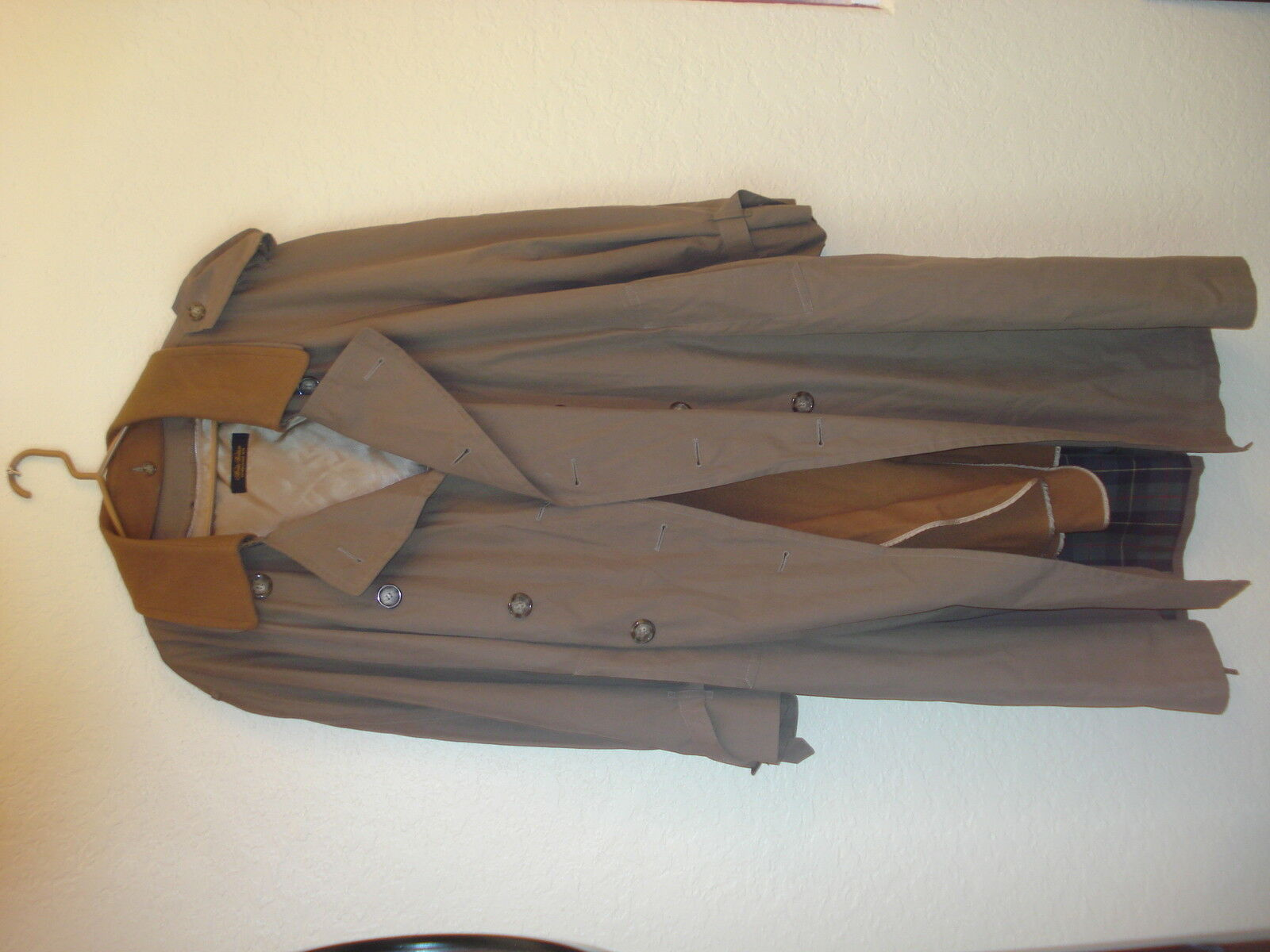Men's Brooks Bredhers Trench Coat W Wool Zip Out Liner-46R