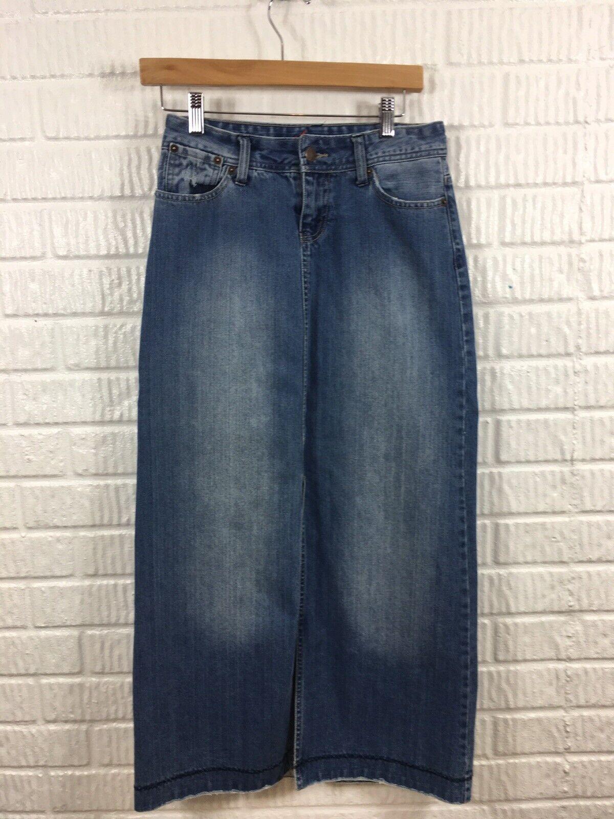 Maurices Long Denim Jean Skirt Size 3 4 EUC Modest Rare Front Slit