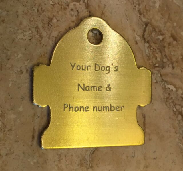 Custom Personalized Engraved Brass Fire Hydrant Dog Tag Cat Tag ID Tag