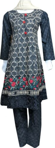 Pakistani  Indian Khaddar Embroidered Shalwar Kameez  Stitched 3-Piece
