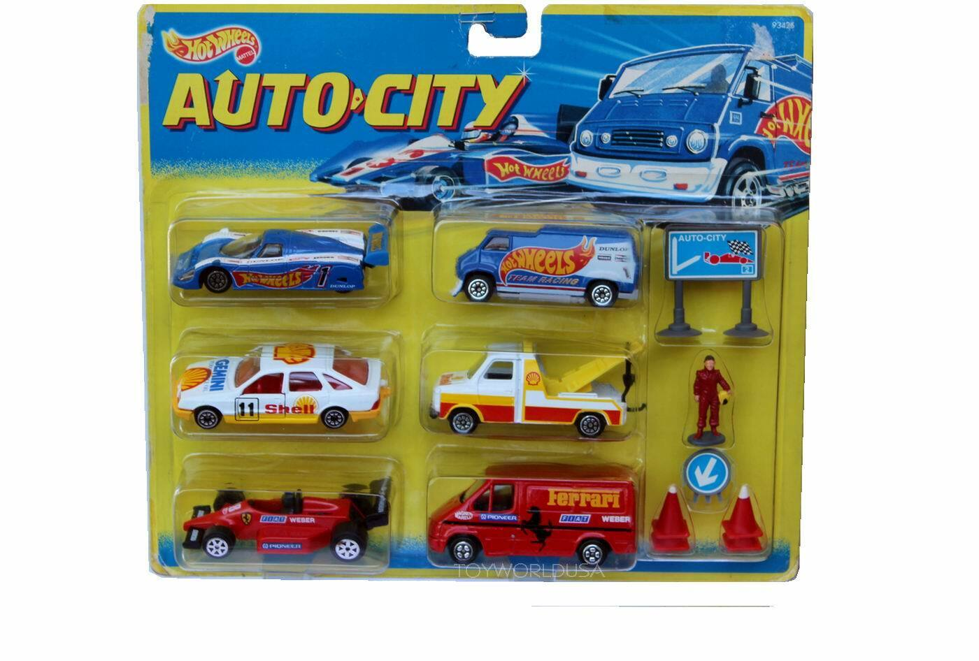 ventas al por mayor Hot Wheels Auto-city 93425 Racing Racing Racing rojoondo Shell Pace Coche & Remolque, Jaguar, Ferrari  selección larga