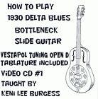 Bottleneck Slide Blues Guitar CD 1 - Open D Tuning video lessons Keni Lee