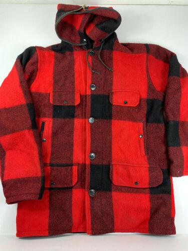 Vintage Johnson Woolen Mills Red Black Buffalo Pla