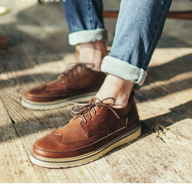 Casual Men Lace up Brogue Carved Wing Tip British Style Retro shoes Autumn New