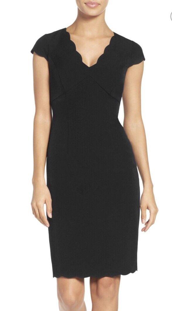 Adrianna Papell Scalloped Crepe Sheath Dress schwarz Größe 6 US New