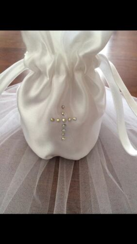 2 Tier White Diamante Holy Communion Veil /& Matching Dolly Bag FREE POSTAGE.