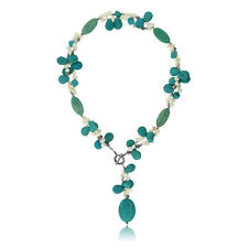 """24"""" Turquoise Color & White Cultured Freshwater Pearl Necklace with Toggle Hook"""