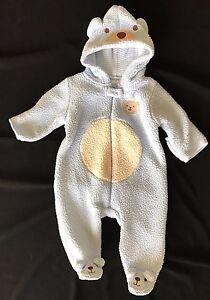 Baby Boys Snowsuit Light Blue Teddy Bear Hood Feet