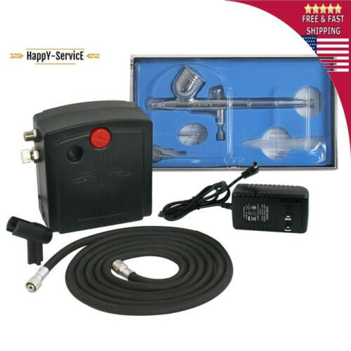 Precision Dual Action Airbrushing Air Compressor Kit Set Craft Cake Hobby Paint