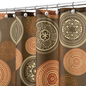 Shower Curtain Bazaar Medallion Brown Orange Spice Ebay