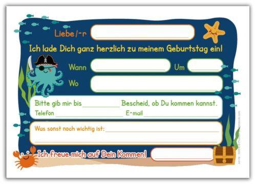 Invitation Cards Pirate Pirates for 7 Birthday Seventh Boy Girl Children