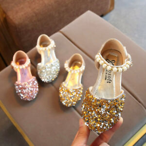 Toddler-Infant-Kids-Baby-Girls-Pearl-Bling-Sequins-Single-Princess-Shoes-Sandals