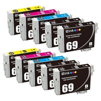 10 PK for 69 Black & Color Ink Cartridges fit Epson WorkForce 600 610 615 & More