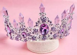 7cm High Purple Prom Crystal Wedding Party Pageant Tiara Crown Earrings Set