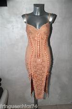 luxe dress robe dentelle saumon CATWALK COLLECTION LONDON T 36   NEUVE val 885€