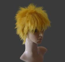 Anime Short Golden Uzumaki Naruto Fairy Tail Cosplay Costume Wigs