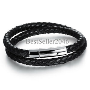 Men-Black-Braided-Leather-Bracelet-Bangle-with-Stainless-Steel-Magnetic-Clasp-8-034