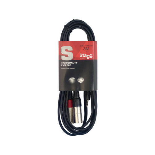 Stagg SYC3//MPS2XM 3m//10ft Stereo Minijack to Twin Male XLR Cable NEW