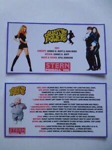 * * 'AUSTIN POWERS' Stern 2001 Custom Instruction/Apron Cards * * (New)
