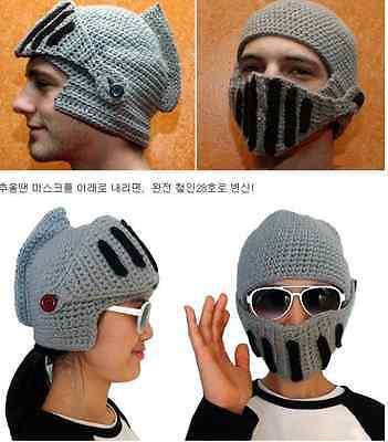 Winter Women Men Buttons Crochet Knit Ski Beanie Wool Roman Knight Hat Cap Mask