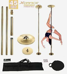 45mm Professional X-Dance GOLD Exotic Pole Dance Exercise Fitness +2 Carry Bag