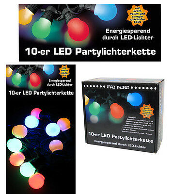 Bunte LED Party Lichterkette,verängerbar,7,5m,Garten Sommer Pavillion 10 Kugeln