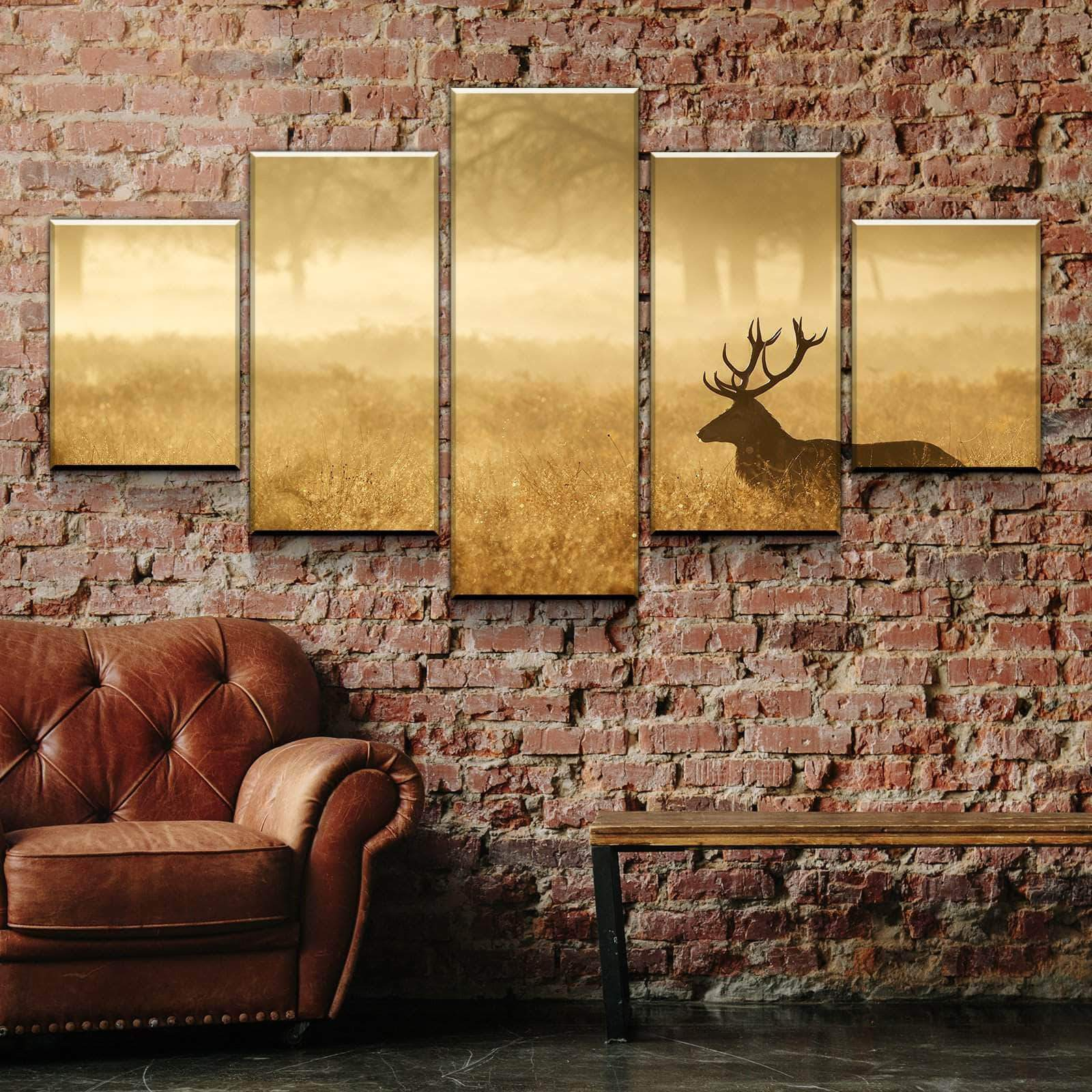 rot Deer Silhouette Forest 5 panel canvas Wall Art Home Decor Poster Print