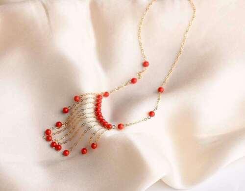 Certifié naturel corail rouge perles Clavicule Chaîne Collier 14 K Gold Chaîne Cadeau