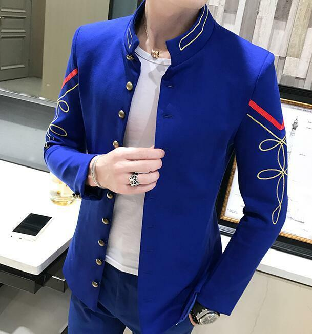 Fashion Mens Blazer Coat Long Sleeve Stand Collar Embroidery Party Sales