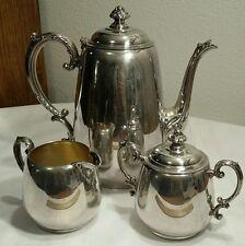 WM Rogers Star Mark Silverplate Tea Set Teapot, Sugar & Creamer